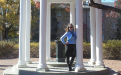UNC Chapel Hill Charmin standing in the Old Well at UNC Chapel Hill