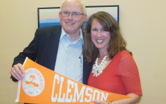 Charmin Lee with Robert Barkley, Director of Admissions at Clemson University during the campus visit and tour